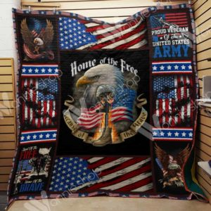 Us Veteran Home Of The Free Quilt Blanket Great Customized Gifts For Birthday Christmas Thanksgiving Veteran's Day Perfect Gifts For Veteran