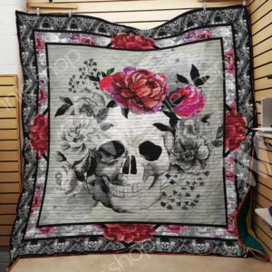 Skull Flower Quilt Blanket Great Customized Gifts For Birthday Christmas Thanksgiving Perfect Gifts For Skull Lover