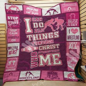 Wrestling Girl Keep Calm And Wrestle On Quilt Blanket Great Customized Gifts For Birthday Christmas Thanksgiving Perfect Gifts For Wrestling Lover