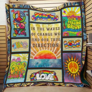 Hippie In The Waves Of Change Quilt Blanket Great Customized Gifts For Birthday Christmas Thanksgiving Perfect Gifts For Hippie