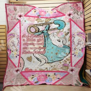 Unicorn And She Loved A Little Girl Quilt Blanket Great Customized Gifts For Birthday Christmas Thanksgiving Perfect Gifts For Unicorn Lover