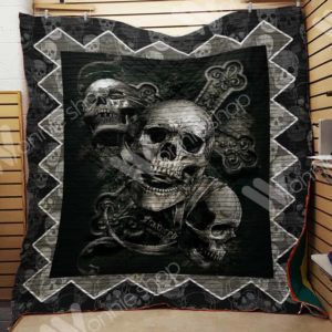 Skull And Silver Cross Quilt Blanket Great Customized Gifts For Birthday Christmas Thanksgiving Perfect Gifts For Skull Lover