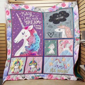 Unicorn May All Your Dreams Come True Quilt Blanket Great Customized Gifts For Birthday Christmas Thanksgiving Perfect Gifts For Unicorn Lover