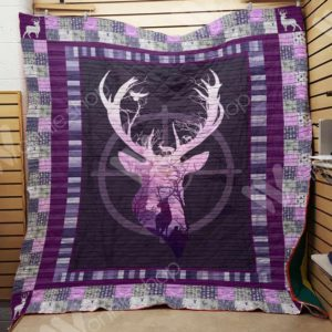 Deer Hunting Purple Gradient Quilt Blanket Great Customized Gifts For Birthday Christmas Thanksgiving Perfect Gifts For Hunting Lover