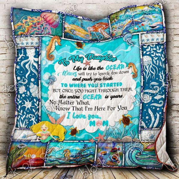 Personalized Ocean To My Daughter Quilt Blanket From Mom I Love You Great Customized Blanket Gifts For Birthday Christmas Thanksgiving