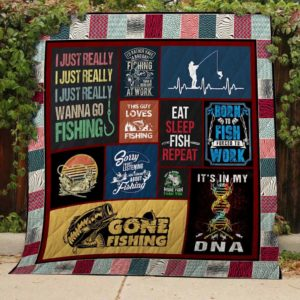 Fishing It's In My Dna Quilt Blanket Great Customized Gifts For Birthday Christmas Thanksgiving Perfect Gifts For Fishing Lover