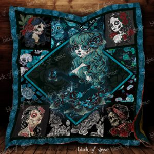 Blue Skull Girl Quilt Blanket Great Customized Gifts For Birthday Christmas Thanksgiving Perfect Gifts For Skull Lover