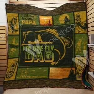 Fishing Dad I'm One Fly Dad Quilt Blanket Great Customized Gifts For Birthday Christmas Thanksgiving Father's Day Perfect Gifts For Fishing Lover