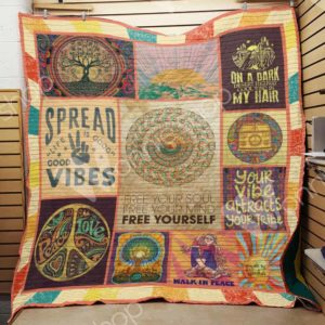 Hippie Your Vibe Attracts Your Tribe Quilt Blanket Great Customized Gifts For Birthday Christmas Thanksgiving Perfect Gifts For Hippie