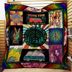 Hippie And Into The Forest I Go Quilt Blanket Great Customized Gifts For Birthday Christmas Thanksgiving Perfect Gifts For Hippie