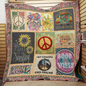 Hippie I Got A Peaceful Easy Feeling Quilt Blanket Great Customized Gifts For Birthday Christmas Thanksgiving Perfect Gifts For Hippie