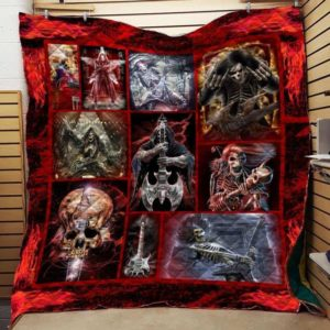 Electric Guitar Skull Quilt Blanket Great Customized Blanket Gifts For Birthday Christmas Thanksgiving