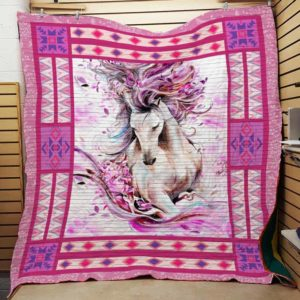 Pink Geometric Horse Quilt Blanket Great Customized Blanket Gifts For Birthday Christmas Thanksgiving