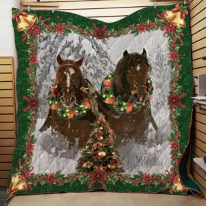 Horse With Christmas Decoration Quilt Blanket Great Customized Blanket Gifts For Birthday Christmas Thanksgiving