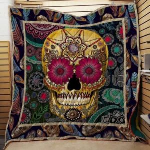 Tattooed Skull Quilt Blanket Great Customized Gifts For Birthday Christmas Thanksgiving Perfect Gifts For Skull Lover
