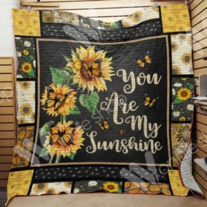 Sunflower Monarch Butterfly You Are My Sunshine Quilt Blanket Great Customized Gifts For Birthday Christmas Thanksgiving Perfect Gifts For Butterfly Lover