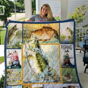 Bass Fishing Quilt Blanket