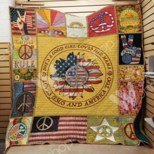 Hippie Loves Jesus And America Too Quilt Blanket Great Customized Gifts For Birthday Christmas Thanksgiving Perfect Gifts For Hippie