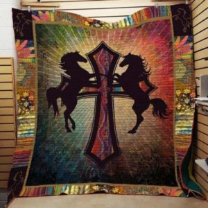 Horse On The Cross Quilt Blanket Great Customized Blanket Gifts For Birthday Christmas Thanksgiving