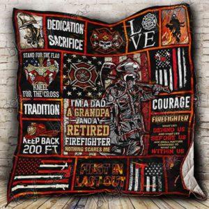 Firefighter Grandpa Quilt Blanket
