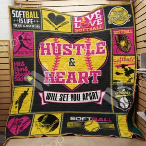 Softball Hustle And Heart Quilt Blanket Great Customized Gifts For Birthday Christmas Thanksgiving Perfect Gifts For Softball Lover