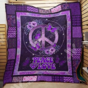 Hippie Peace And Love Purple Quilt Blanket Great Customized Gifts For Birthday Christmas Thanksgiving Perfect Gifts For Hippie