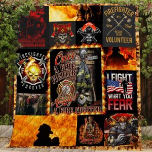 Once A Firefighter Quilt Blanket Great Customized Blanket Gifts For Birthday Christmas Thanksgiving