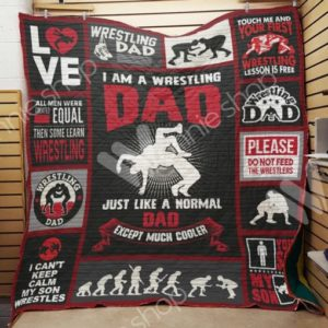 Wrestling Dad Quilt Blanket