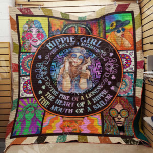 Hippie The Soul Of A Mermaid Quilt Blanket Great Customized Gifts For Birthday Christmas Thanksgiving Perfect Gifts For Hippie