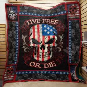 Skull American Flag Live Free Or Die Quilt Blanket Great Customized Gifts For Birthday Christmas Thanksgiving Perfect Gifts For Skull Lover