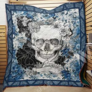 Skull Flower Blue Quilt Blanket Great Customized Gifts For Birthday Christmas Thanksgiving Perfect Gifts For Skull Lover