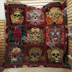 Skull Aesthetic Painting Quilt Blanket Great Customized Gifts For Birthday Christmas Thanksgiving Perfect Gifts For Skull Lover