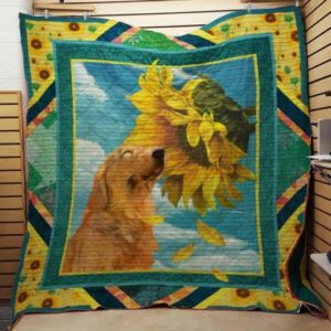 Golden Retriever Sunflower Quilt Blanket Great Customized Blanket Gifts For Birthday Christmas Thanksgiving