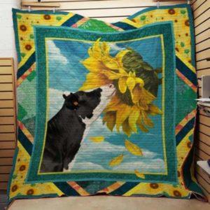 Cow Sunflower Quilt Blanket