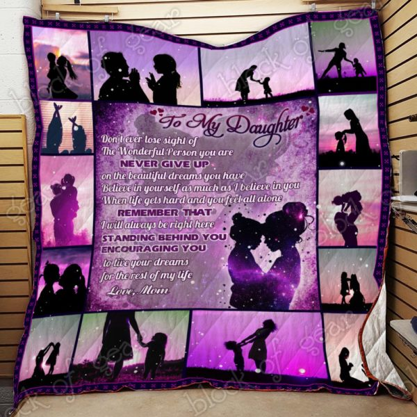 Personalized To My Daughter From Mom I Love You Purple Quilt Blanket Great Customized Gifts For Birthday Christmas Thanksgiving Perfect Gifts For Daughter