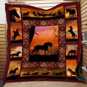 Horse Cowboy Quilt Blanket Great Customized Gifts For Birthday Christmas Thanksgiving Perfect Gifts For Horse Lover