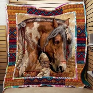 Horse Native American Quilt Blanket Great Customized Gifts For Birthday Christmas Thanksgiving Perfect Gifts For Horse Lover