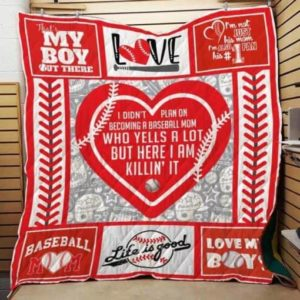 Baseball I Didn't Plan On Becoming A Baseball Mom Quilt Blanket Great Customized Gifts For Birthday Christmas Thanksgiving Mother's Day Perfect Gifts For Baseball Lover