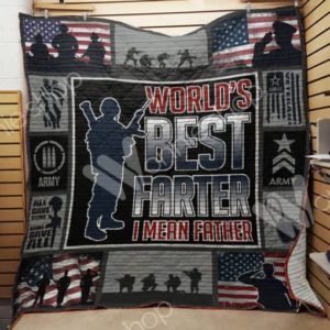 Veteran Dad Wold's Best Farter Quilt Blanket Great Customized Gifts For Birthday Christmas Thanksgiving Perfect Gifts For Veteran Lover