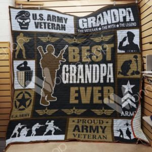 Veteran Grandpa The Veteran The Myth The Legend Quilt Blanket Great Customized Gifts For Birthday Christmas Thanksgiving Perfect Gifts For Veteran Lover