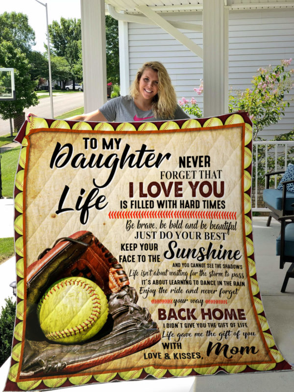 My Softball Daughter Quilt Blanket
