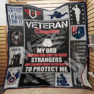 Veteran Dad And Daughter Quilt Blanket