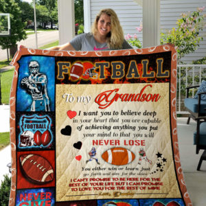 Personalized American Football To My Grandson From Grandma Never Give Up Quilt Blanket Great Customized Gifts For Birthday Christmas Thanksgiving Perfect Gifts For American Football Lover