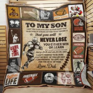 Personalized American Football To My Son From Dad Aim For The Skies Quilt Blanket Great Customized Gifts For Birthday Christmas Thanksgiving Perfect Gifts For American Football Lover