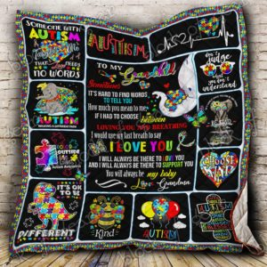 To My Grandchild Autism Quilt Blanket