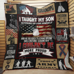 Veteran Dad And Son Quilt Blanket