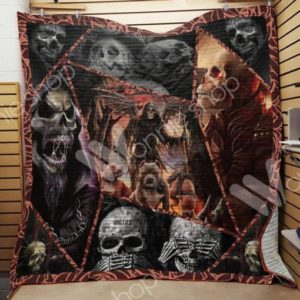 Skull God Of Death Quilt Blanket Great Customized Gifts For Birthday Christmas Thanksgiving Perfect Gifts For Skull Lover