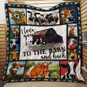 Cow I Love You To The Barn And Back Quilt Blanket Great Customized Blanket Gifts For Birthday Christmas Thanksgiving