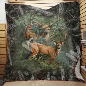 Deer Hunting Grass Quilt Blanket Great Customized Gifts For Birthday Christmas Thanksgiving Perfect Gifts For Hunting Lover
