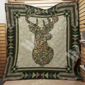Deer Hunting Camo Quilt Blanket Great Customized Gifts For Birthday Christmas Thanksgiving Perfect Gifts For Hunting Lover